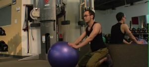 Stability Ball Low Back Extension with the Wall