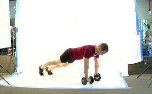 Push-up off Dumbell, Twist, and Tri-cep Extension