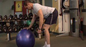 Single Arm Row on Stability Ball (Back Stabilization/ Ab Stabilization/ Shoulder Stabilization)