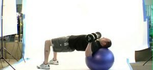 Dumbell Press on Ball with Hip Stabilization
